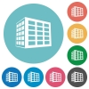 Office block flat round icons - Office block flat white icons on round color backgrounds
