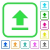 Upload vivid colored flat icons - Upload vivid colored flat icons in curved borders on white background