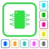 Integrated circuit vivid colored flat icons - Integrated circuit vivid colored flat icons in curved borders on white background