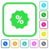 Discount sticker vivid colored flat icons - Discount sticker vivid colored flat icons in curved borders on white background