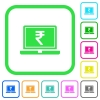 Laptop with Rupee sign vivid colored flat icons - Laptop with Rupee sign vivid colored flat icons in curved borders on white background