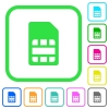 SIM card vivid colored flat icons in curved borders on white background - SIM card vivid colored flat icons