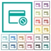 Credit card disabled flat color icons with quadrant frames - Credit card disabled flat color icons with quadrant frames on white background