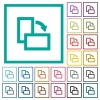 Rotate right flat color icons with quadrant frames - Rotate right flat color icons with quadrant frames on white background
