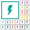 Flash flat color icons with quadrant frames - Flash flat color icons with quadrant frames on white background