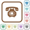 Vintage retro telephone simple icons - Vintage retro telephone simple icons in color rounded square frames on white background