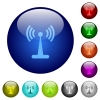 Wlan network color glass buttons - Wlan network icons on round color glass buttons