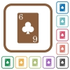 Six of clubs card simple icons - Six of clubs card simple icons in color rounded square frames on white background