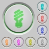 Energy saving fluorescent light bulb color icons on sunk push buttons - Energy saving fluorescent light bulb push buttons