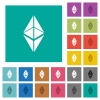 Ethereum classic digital cryptocurrency square flat multi colored icons - Ethereum classic digital cryptocurrency multi colored flat icons on plain square backgrounds. Included white and darker icon variations for hover or active effects.