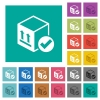 Package delivered square flat multi colored icons - Package delivered multi colored flat icons on plain square backgrounds. Included white and darker icon variations for hover or active effects.