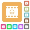 Movie audio rounded square flat icons - Movie audio flat icons on rounded square vivid color backgrounds.