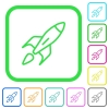 Launched rocket vivid colored flat icons - Launched rocket vivid colored flat icons in curved borders on white background
