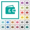 Pound wallet flat color icons with quadrant frames - Pound wallet flat color icons with quadrant frames on white background