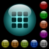 Small thumbnail view mode icons in color illuminated glass buttons - Small thumbnail view mode icons in color illuminated spherical glass buttons on black background. Can be used to black or dark templates