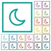 Moon shape flat color icons with quadrant frames - Moon shape flat color icons with quadrant frames on white background