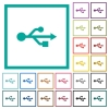 USB connection flat color icons with quadrant frames - USB connection flat color icons with quadrant frames on white background