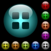 Large thumbnail view mode icons in color illuminated glass buttons - Large thumbnail view mode icons in color illuminated spherical glass buttons on black background. Can be used to black or dark templates