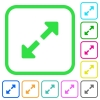Resize full vivid colored flat icons - Resize full vivid colored flat icons in curved borders on white background
