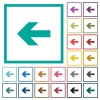 Left arrow flat color icons with quadrant frames - Left arrow flat color icons with quadrant frames on white background