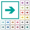 Right arrow flat color icons with quadrant frames - Right arrow flat color icons with quadrant frames on white background