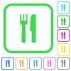 Cutlery vivid colored flat icons - Cutlery vivid colored flat icons in curved borders on white background