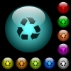 Recycling icons in color illuminated glass buttons - Recycling icons in color illuminated spherical glass buttons on black background. Can be used to black or dark templates