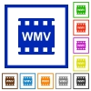 WMV movie format flat framed icons - WMV movie format flat color icons in square frames on white background