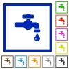 Water faucet with water drop flat framed icons - Water faucet with water drop flat color icons in square frames on white background