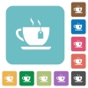 Cup of tea with teabag rounded square flat icons - Cup of tea with teabag white flat icons on color rounded square backgrounds