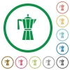 Coffee maker flat icons with outlines - Coffee maker flat color icons in round outlines on white background
