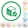 Package delivered flat icons with outlines - Package delivered flat color icons in round outlines on white background