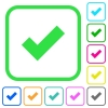 Ok vivid colored flat icons - Ok vivid colored flat icons in curved borders on white background