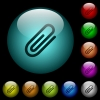 Attachment icons in color illuminated glass buttons - Attachment icons in color illuminated spherical glass buttons on black background. Can be used to black or dark templates