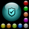 Active shield icons in color illuminated glass buttons - Active shield icons in color illuminated spherical glass buttons on black background. Can be used to black or dark templates