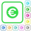 Euro sticker vivid colored flat icons - Euro sticker vivid colored flat icons in curved borders on white background