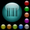 Barcode icons in color illuminated glass buttons - Barcode icons in color illuminated spherical glass buttons on black background. Can be used to black or dark templates