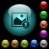 Upload image icons in color illuminated glass buttons - Upload image icons in color illuminated spherical glass buttons on black background. Can be used to black or dark templates