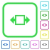 Width tool vivid colored flat icons - Width tool vivid colored flat icons in curved borders on white background