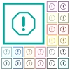 Octagon shaped error sign flat color icons with quadrant frames - Octagon shaped error sign flat color icons with quadrant frames on white background