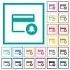 Credit card transaction alerts flat color icons with quadrant frames - Credit card transaction alerts flat color icons with quadrant frames on white background