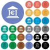 Euro bank office round flat multi colored icons - Euro bank office multi colored flat icons on round backgrounds. Included white, light and dark icon variations for hover and active status effects, and bonus shades on black backgounds.