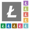Litecoin digital cryptocurrency square flat icons - Litecoin digital cryptocurrency flat icons on simple color square backgrounds