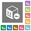 Package insurance square flat icons - Package insurance flat icons on simple color square backgrounds
