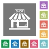 Store front square flat icons - Store front flat icons on simple color square backgrounds