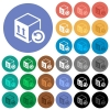 Package return round flat multi colored icons - Package return multi colored flat icons on round backgrounds. Included white, light and dark icon variations for hover and active status effects, and bonus shades on black backgounds.