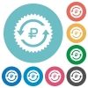 Ruble pay back guarantee sticker flat round icons - Ruble pay back guarantee sticker flat white icons on round color backgrounds