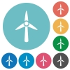 Wind turbine flat white icons on round color backgrounds - Wind turbine flat round icons