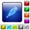 High speed USB color square buttons - High speed USB icons in rounded square color glossy button set