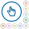 Hand cursor icons with shadows and outlines - Hand cursor flat color vector icons with shadows in round outlines on white background